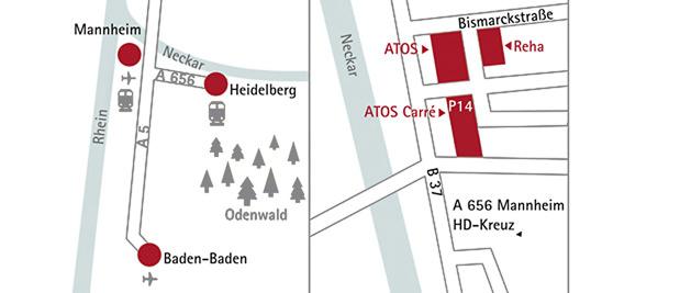 Anreise zur ATOS Klinik in Heidelberg